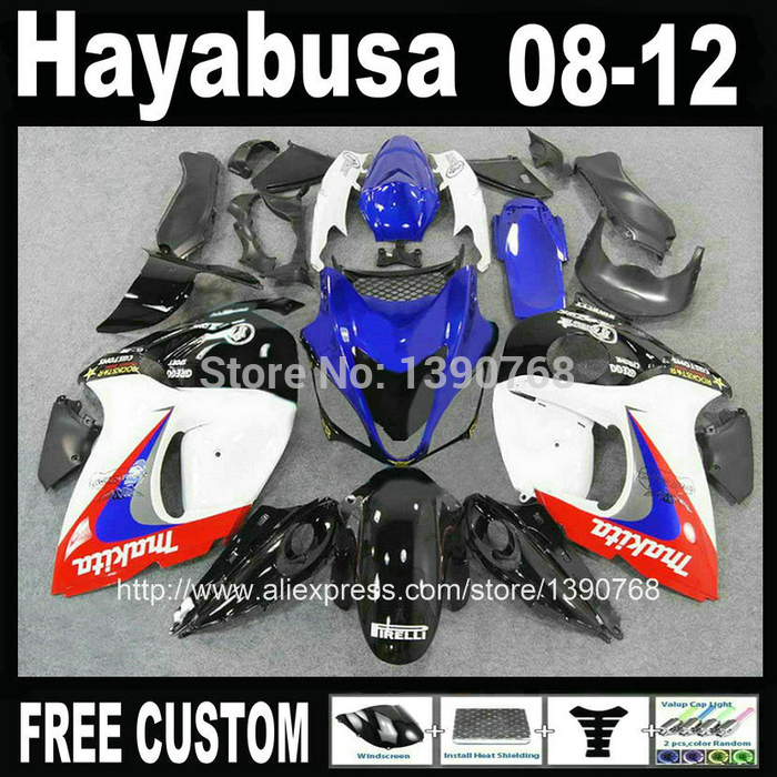 NEW HOT Injection molding fairing kit for SUZUKI Hayabusa fairings GSXR1300 2008-2014 blue white black set 08-12 TX13 hot sales yzf600 r6 08 14 set for yamaha r6 fairing kit 2008 2014 red and white bodywork fairings injection molding