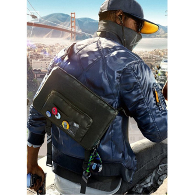 Watch dog2 Bag Marcus Holloway Cosplay Costume Accessories Unisex bag Hot Game for Halloween Party Outfit Free 7 Badge adult