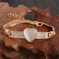 Hot Wholesale Gold Plated Heart Cat Eye Clear Austrian crystal Attractive Chain Bracelet Womens Jewelry
