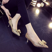 2016 spring and autumn new high-heeled shoes bow with thin non-slip comfortable fashion shoes sexy single shoes sexy shoes