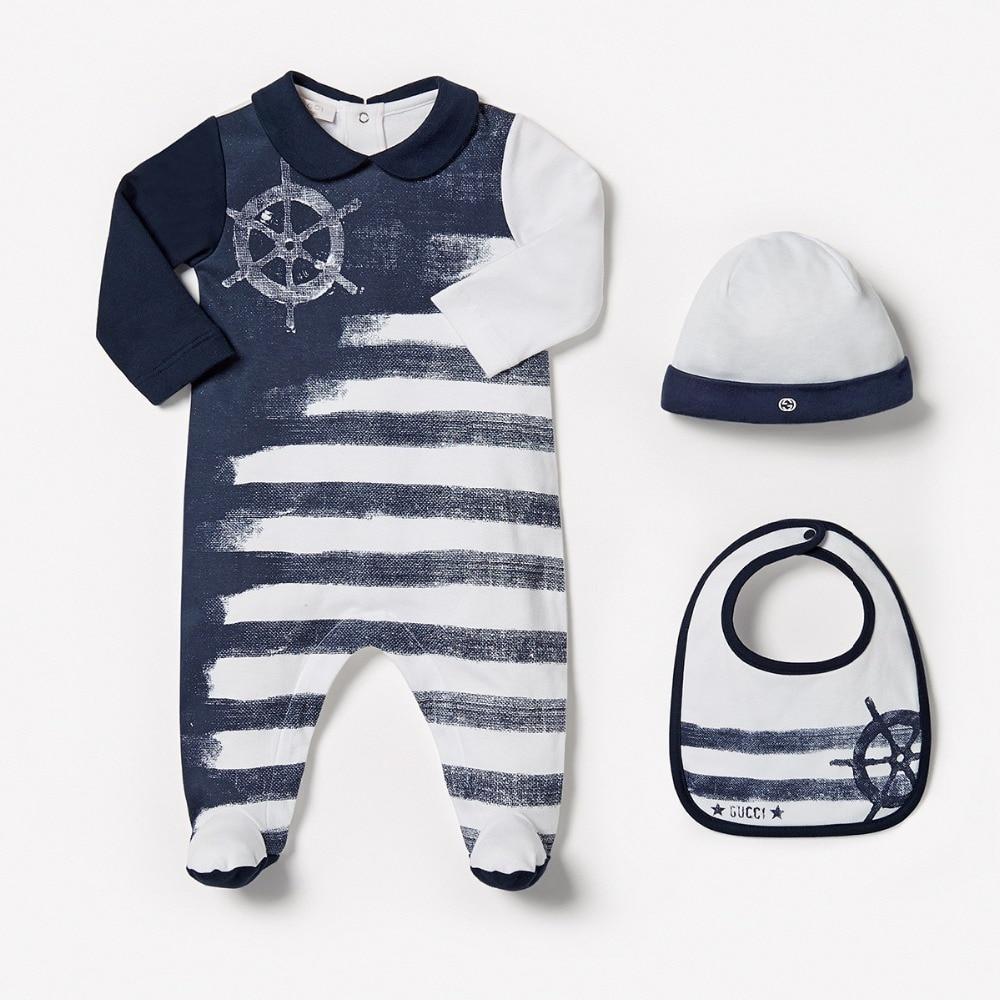 Crib jordans for sale - New Autumn Baby Boy Bodysuits Hat Bebe 3pcs Full Sleeve Striped Infant Clothing Baby Jordan For