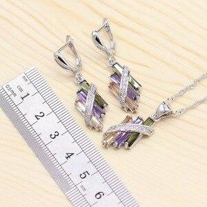 Image 5 - 925 conjuntos de jóias de noiva de prata para o casamento feminino multi cor zircão brincos pulseira colar pingente caixa presente