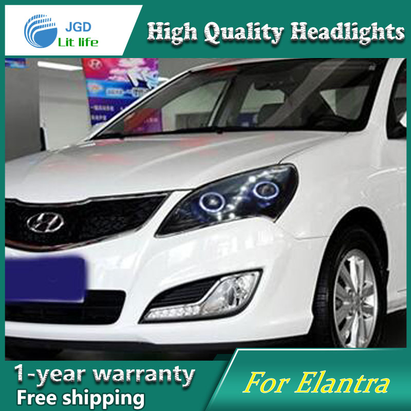 high quality Car styling case for Hyundai Elantra 2008-2010 Headlights LED Headlight DRL Lens Double Beam HID Xenon akd car styling for nissan teana led headlights 2008 2012 altima led headlight led drl bi xenon lens high low beam parking