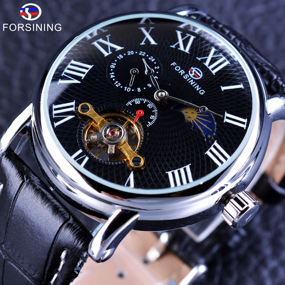 Forsining Tourbillion Design Black Reticulate Dial Genuine Leather Men Watches Top Brand Luxury Automatic Mechanical Wrist Watch forsining navigator series tourbillion date display black silver watch top brand luxury male automatic mechanica wrist watches