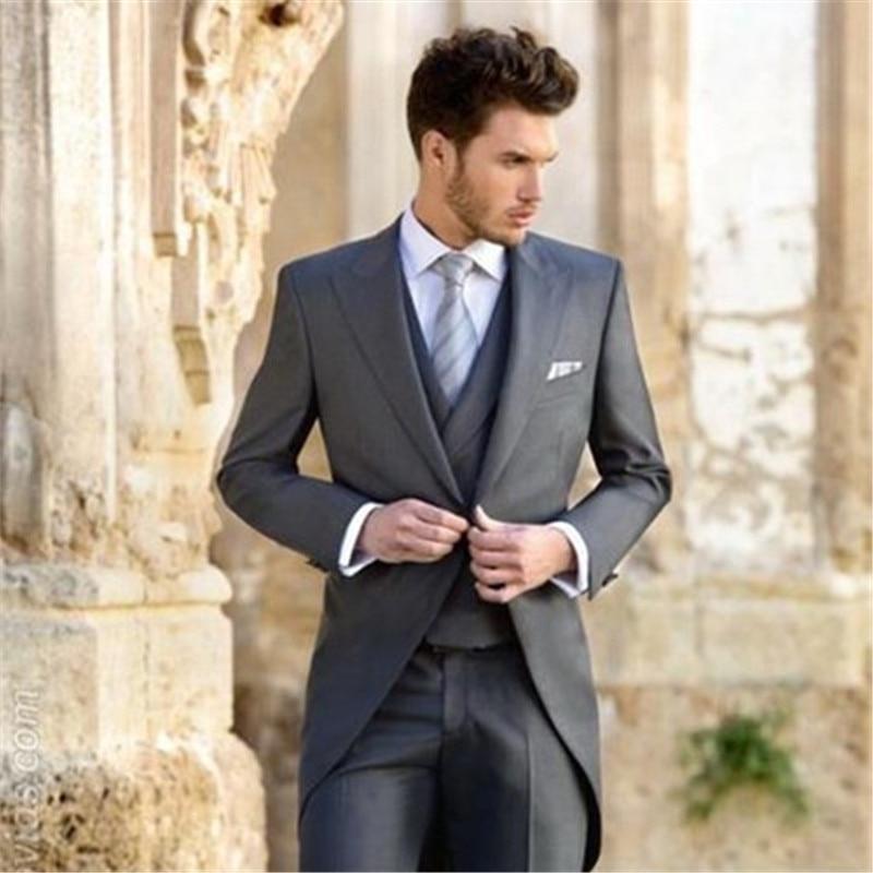 jacke + Hosen + Weste + Krawatte Anzüge Elegante Licht Grau Männer Anzug Herren Hochzeit Smoking Für Bräutigam Besten Männer Party Smoking Anzüge 2017