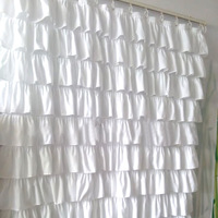 Ruffle Shower Curtain Polyester Fabric Cloth Curtains for Bathroom Bathing UD88