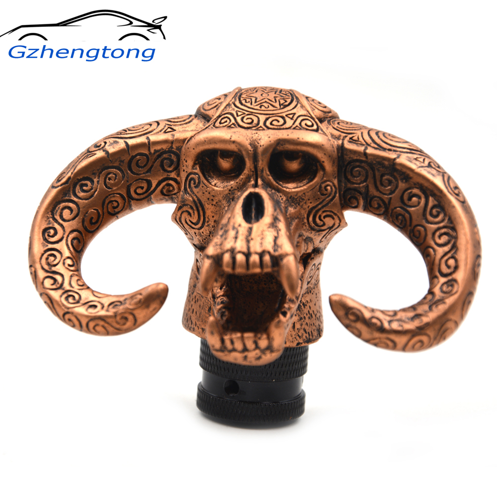 Gzhengtong Funny Bull Head Car Truck Auto Carvedl Resin Craft Stick Shift Gear Shifter Knob Skull Shape Brown Color Universal