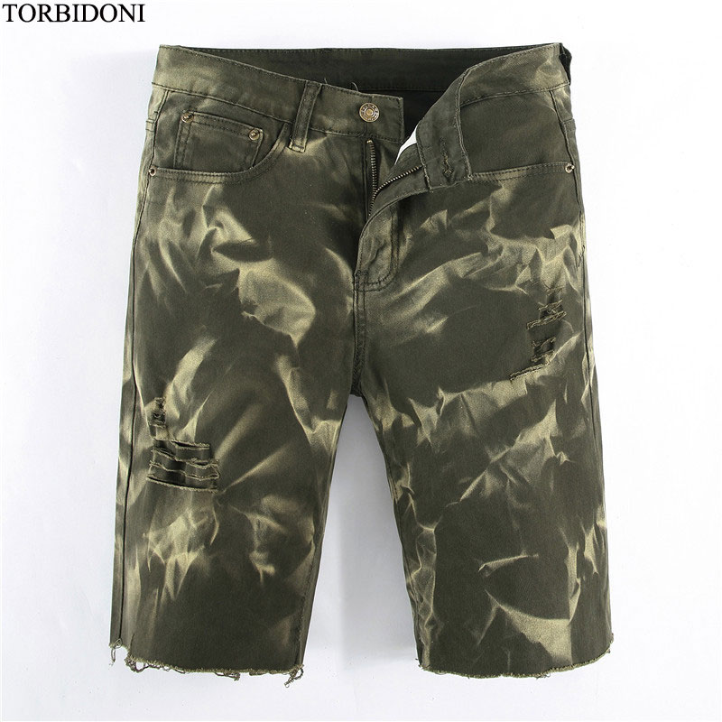 Straight Short Jeans Mens Denim Shorts Casual Knee Length Summer Camouflage Hole Jeans Shorts New Ripped Calca Jeans Masculina