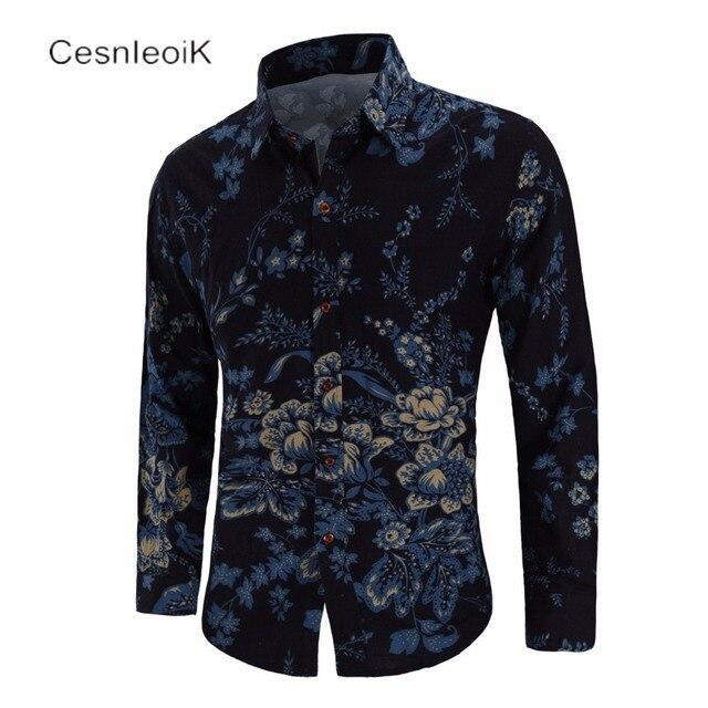 Новые повседневные мужские рубашки с длинным рукавом Slim Fit печати отложным воротником Camisas большой размер C810