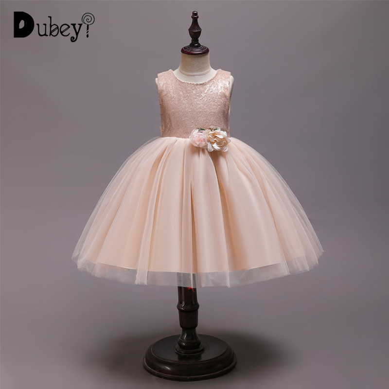 Girls Champagne Sequined Princess Tutu Dress Elegant Party Dress for A Girl Evening Prom Costumes Baby Girl Tutu Dress