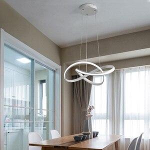 Image 5 - Candelabro led moderno para cocina, comedor, sala de estar, colgante luminaria de suspensión, candelabros de dormitorio blanco y negro, accesorios