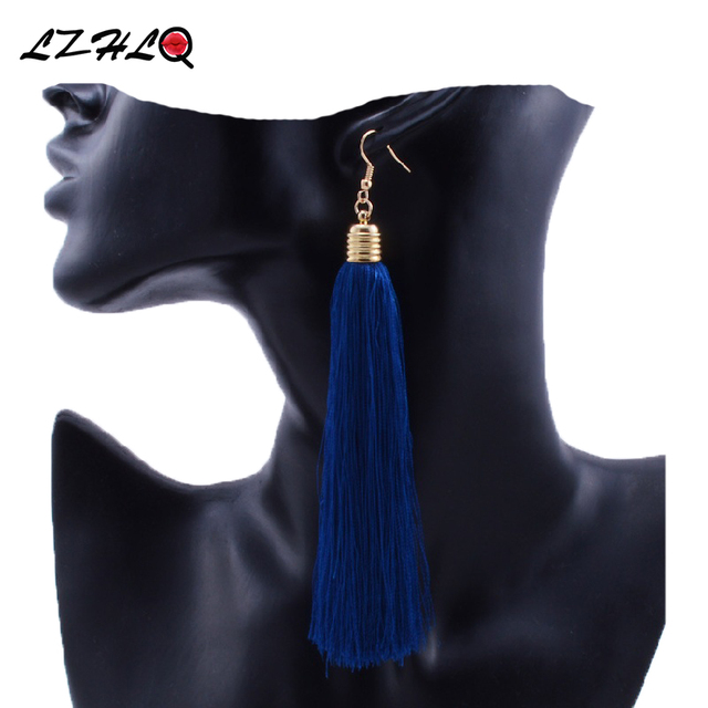 LZHLQ Vintage Ethnic Long Tassel Earrings Women 2017 Fashion Brand Jewelry Geometric Alloy Plating Simple Dangle Drop Earrings 1