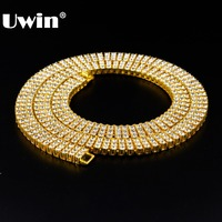 Gold Color Men Necklace 3Row Rhinestone Simulated Rhinestones Iced Out Hip Hop Necklace Chain Punk Rock Jewelry