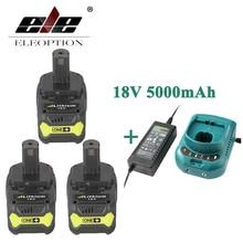 ELEOPTION 18 V 5000 mAh Li-Ion Batteryx3 Für Ryobi P108 RB18L40 P2000 P310 Für Ryobi ONE + BIW180 Mit Ladegerät