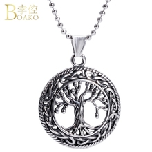 BOAKO Tree Necklace Women/Men Stainless Steel Hollow Life Tree Pendant Necklace Titanium steel Jewelry Girl Hiphop Collier Z5 hollow tree of life stainless steel colorful earrings