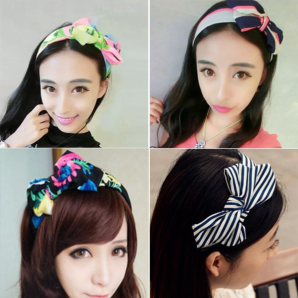 South Korea Korean hair jewelry brimmed headband hairpin cloth bow hair bands, free home delivery