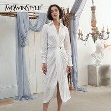 TWOTWINSTYLE V cuello camisa vestido de mujer de manga larga túnica fruncida alta cintura Midi vestidos 2020 otoño moda OL tamaño grande Casual