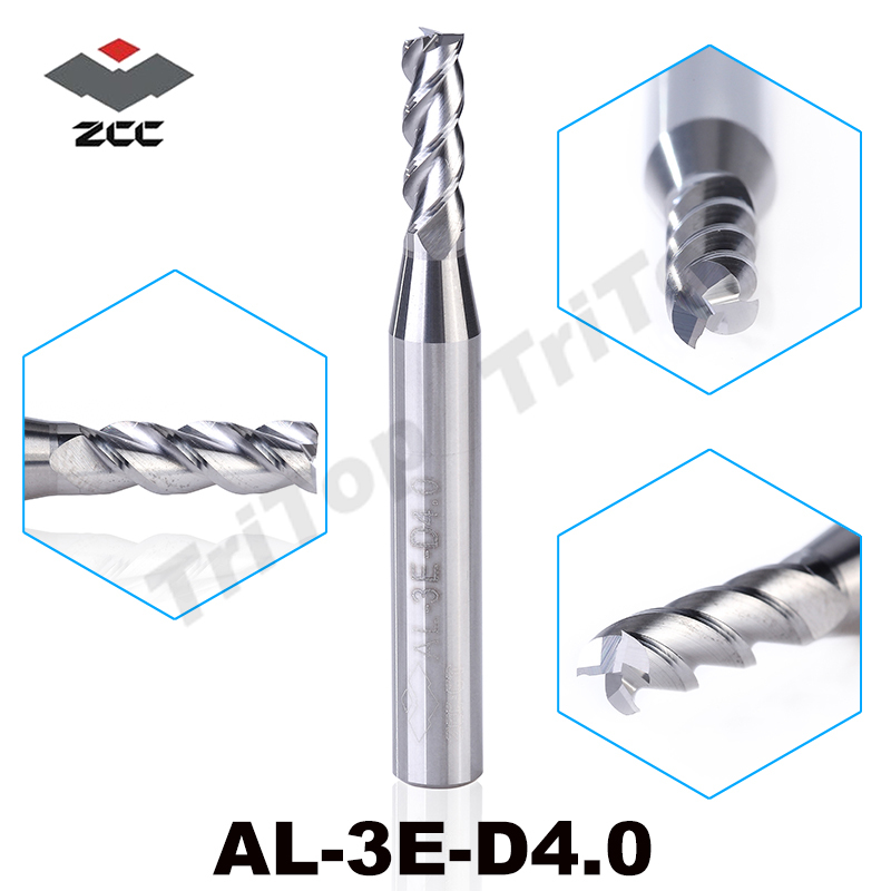 5PCS/LOT  ZCC.CT AL-3E-D4.0 Solid Carbide 3 Flute Flattened End Mill 4mm D6 With Straight Shank Milling Cutter
