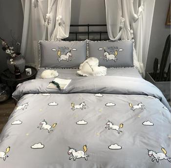 4 шт хлопок Единорог вышитые постельные принадлежности набор пододеяльник плоский лист наволочки, домашний текстиль Коллекция Принцесса