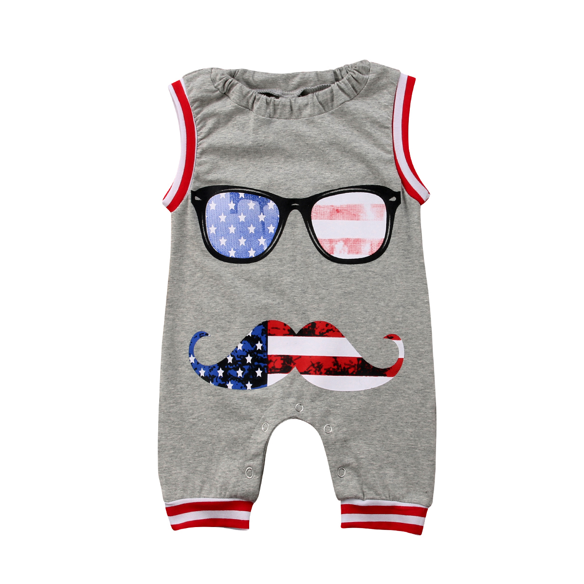 Fourth of July Baby Boy Sleeveless Jumpsuit Newborn Infant Kids Baby Boy Girls   Rompers   Baby Clothing Outfits 0-24M