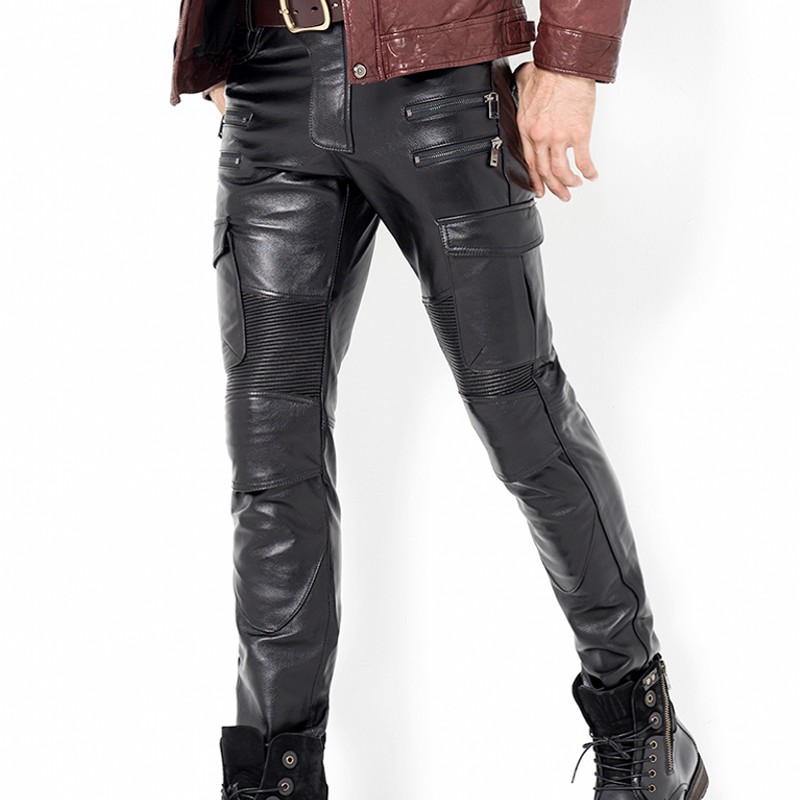 Fashion Mens Leather Pants New Punk Trousers Skinny Genuine Leather Pants Joggers Pants For Men Zipper Straight Pants Plus Size