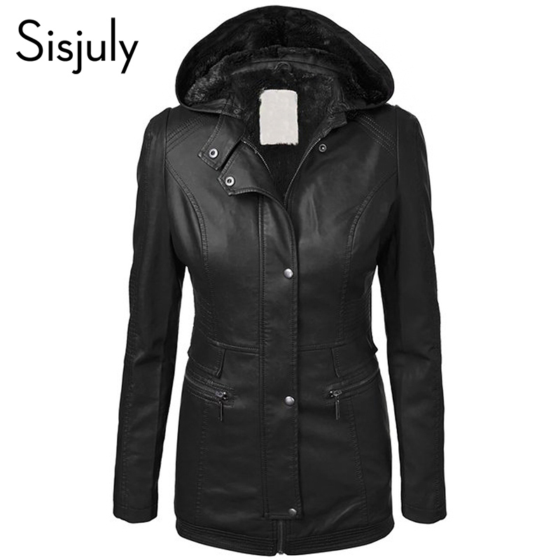 Sisjuly Thick Warm Faux Leather Coat Winter Autumn Slim Zipper Hooded Female Causal Outerwear Solid Women's Chic Jacket Coats