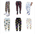 Бесплатная Доставка 2016 3d печати 100 Сто очков emoji Бегунов брюки усмешки женские брюки мужчины случайные свободные милый мультфильм