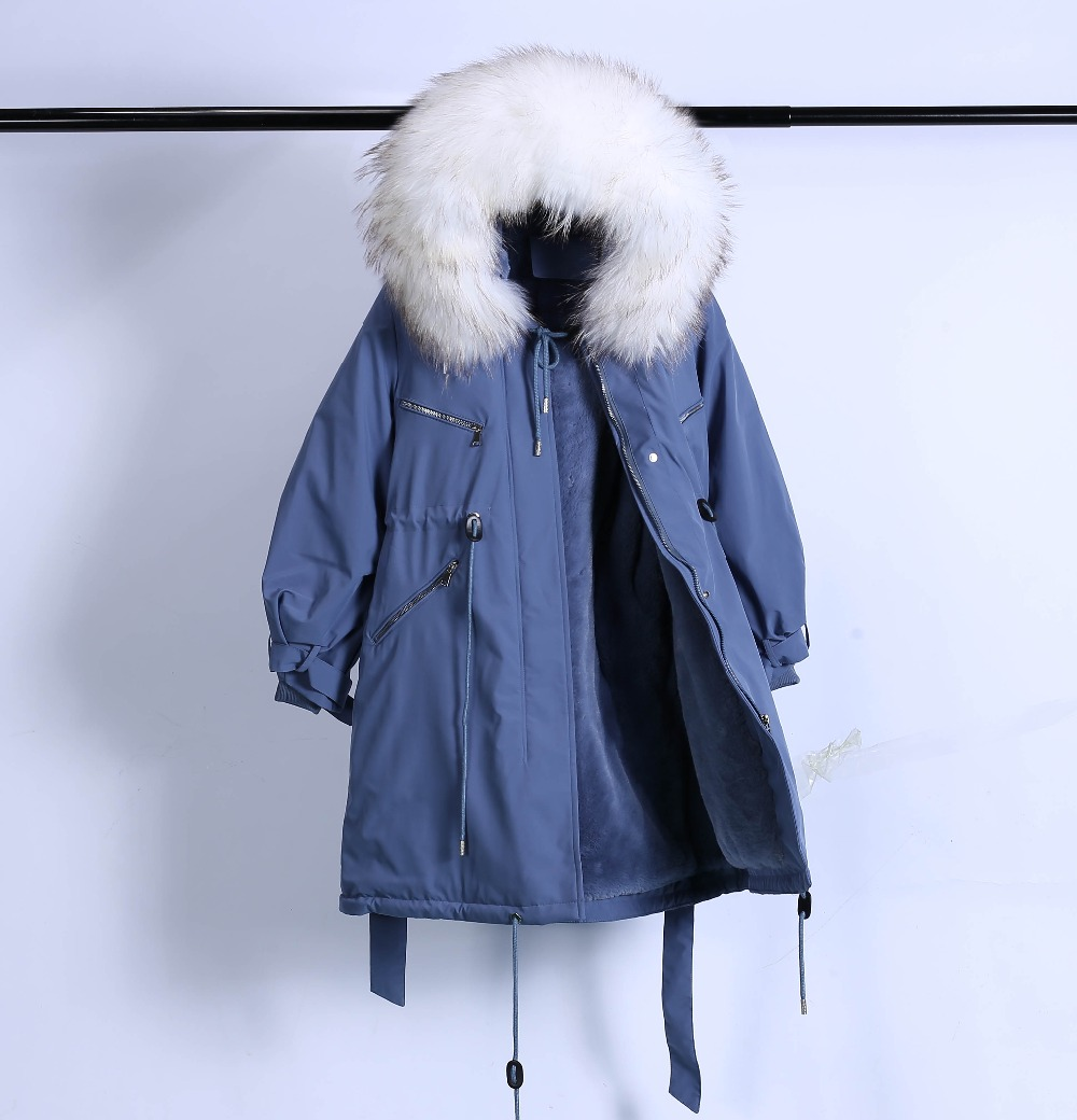 Large Natural Raccoon Fur Winter Jacket Women Hooded 19 Long Parkas For Female Thick Slim Down Winter Coat Women Waterproof 48