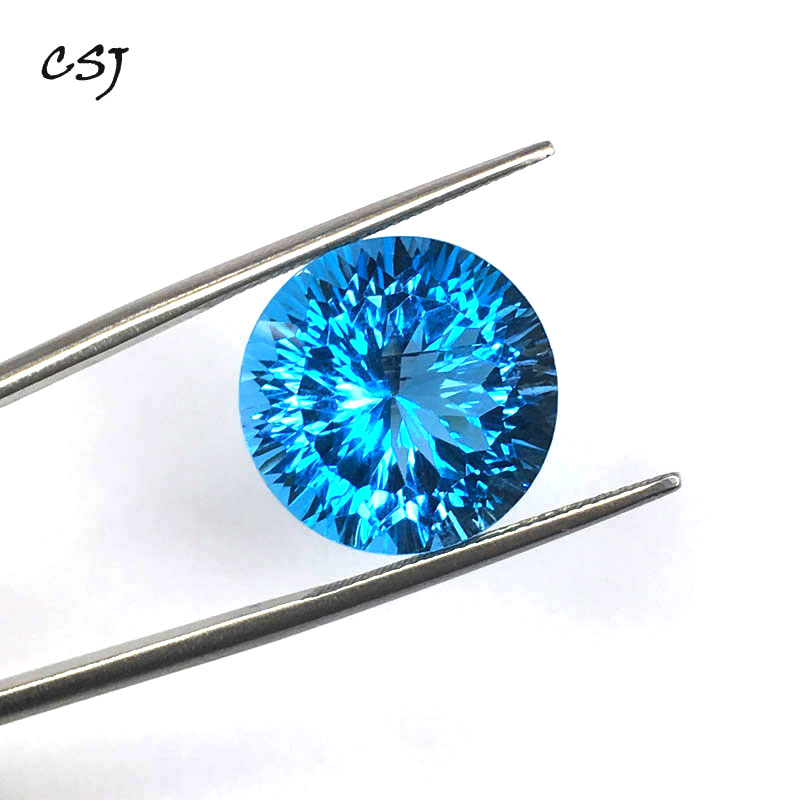 CSJ Natural Blue Topaz Loose Gemstone Deep Color Big Stone Round 15MM 16ct Brilliant Cutting For Diy Jewelry 925 Silver GoldCSJ Natural Blue Topaz Loose Gemstone Deep Color Big Stone Round 15MM 16ct Brilliant Cutting For Diy Jewelry 925 Silver Gold