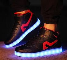 EUR 35-44 High top Led Luminous Shoes 2017 Casual Shoes Led Shoes For Men Fashion Adult LED Lights Up USB Charging Shoe