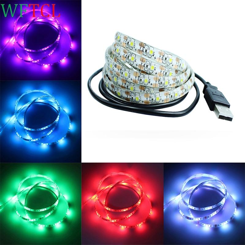 WFTCL 1M 2M 3M 4M 5M USB LED Strip Light DC 5V 3528 SMD IP65 Waterproof RGB Flexible tape ribbon TV Background Lighting Strips