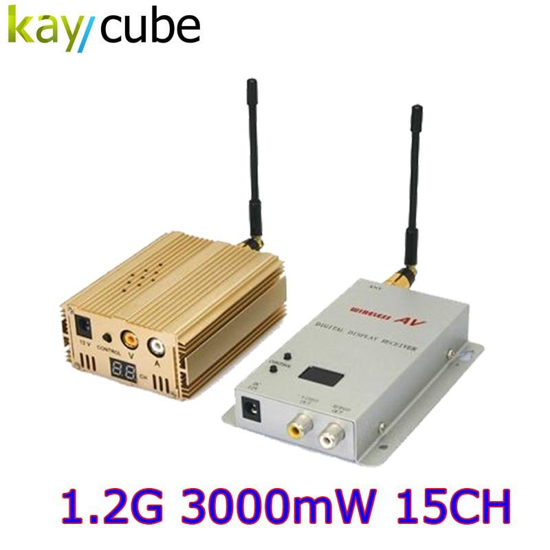 NEW 1.2GHz 3000mW 3W 15 Channel Digital Wireless AV Sender Transmitter And Receiver  Audio Video Sender For CCTV Surveillance