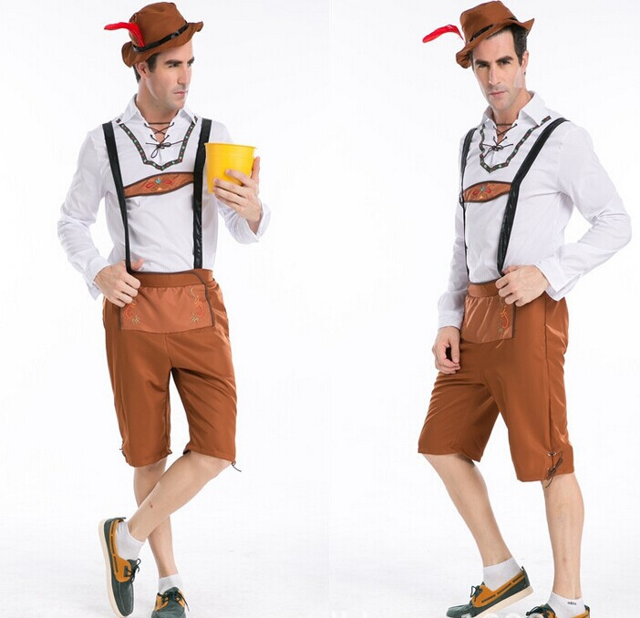 Free Shipping Adult Medium German Beer Maid Costumes Mens Oktoberfest Fancy Male Halloween Party Fantasy Outfit Set Costumes