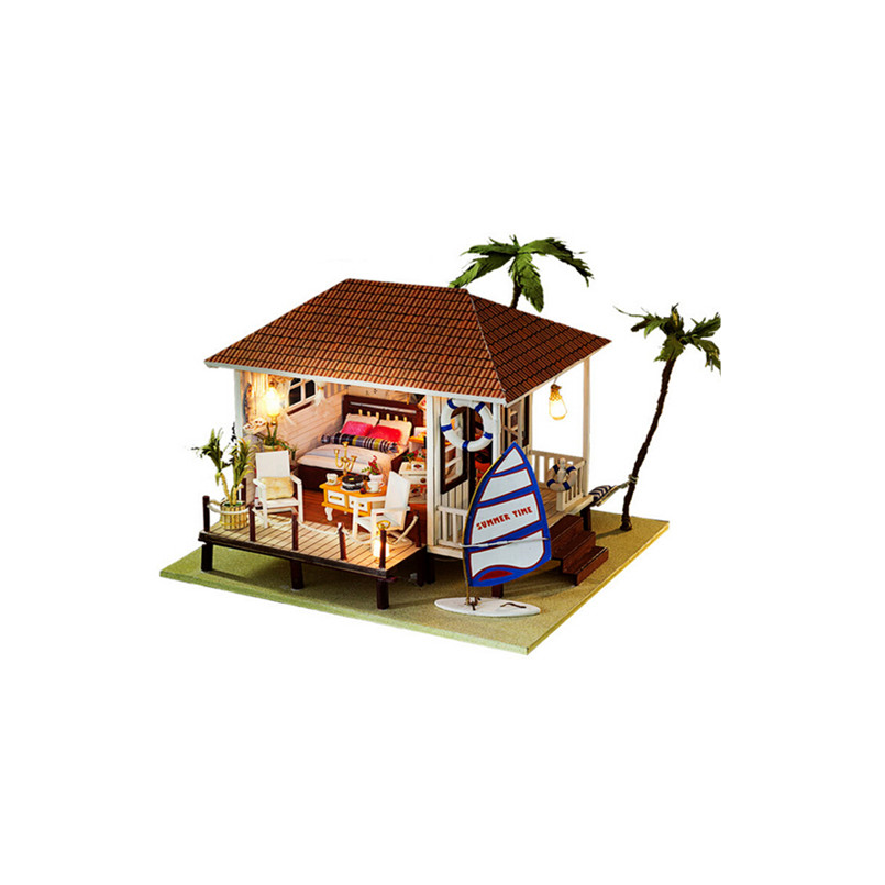 New Doll House Toy Miniature Wooden Doll House Loft With: Funny Miniature Dollhouse Furniture DIY House Toys For