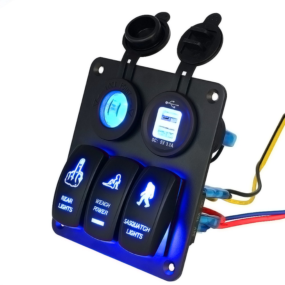 Jinshengda12v 24v 3 Gang Switch Panel Circuit Blue Led Rocker Wiring Breaker Car Boat Marine In Switches Relays From Automobiles Motorcycles On
