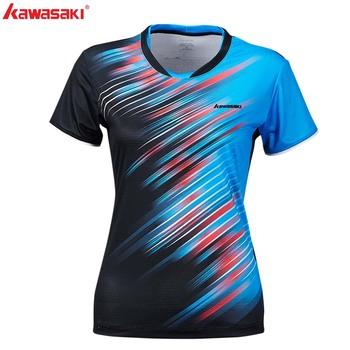 KAWASAKI lato siłownia Fitness kobiety koszulka sportowa szybkie suche z krótkim rękawem do biegania tenis stołowy Badminton T Shirt ST-S2128 tanie i dobre opinie WOMEN O-neck Poliester Oddychające Pasuje prawda na wymiar weź swój normalny rozmiar Blue