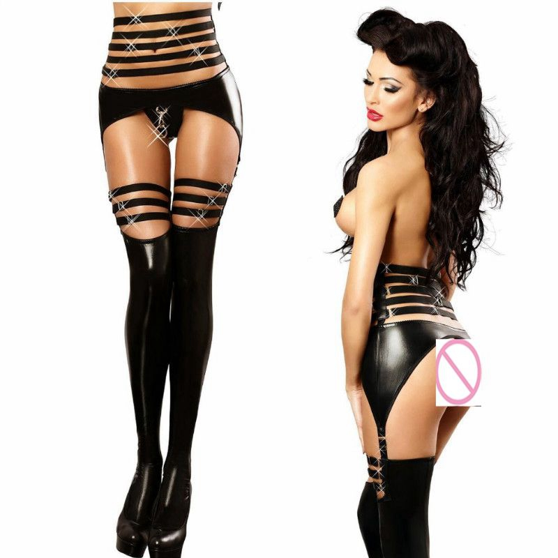 Sexy Black PU Wet Look Faux Leather Jumpsuit PVC Latex DS Pole dance Catsuit Clubwear Women Open Crotch Bodysuit Fetish Costumes
