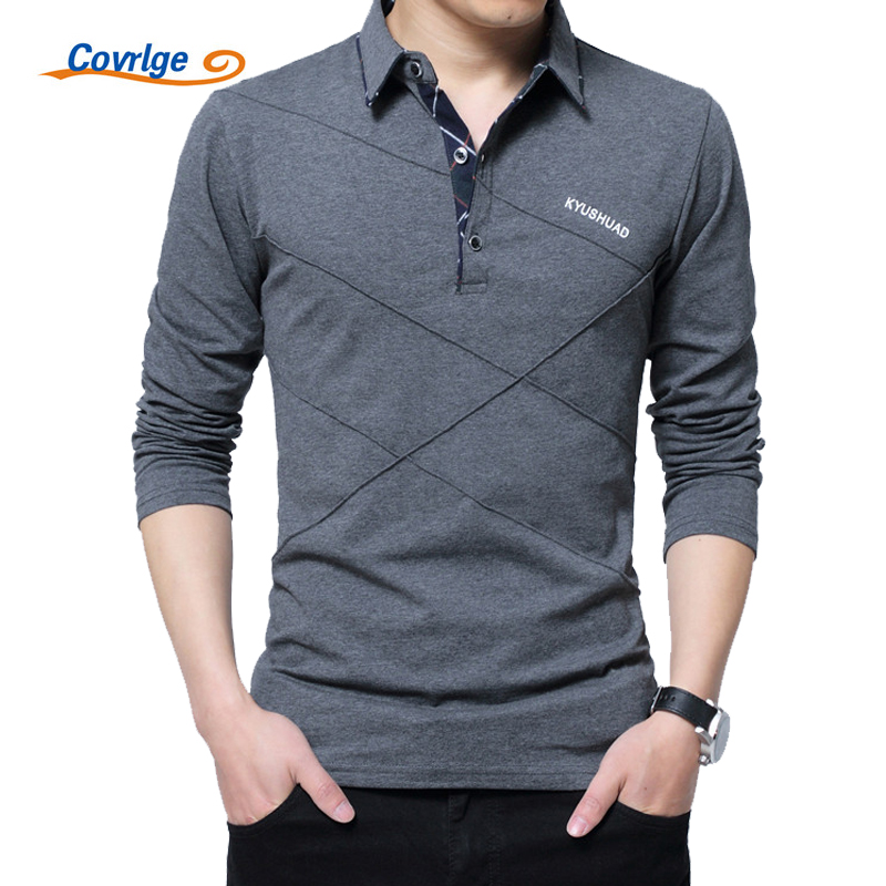 Covrlge Polo Shirt Men 2018 Spring Mens Long Sleeve Polo Shirts Plus Size 3XL 4XL 5XL Brand Male Poles Solid Tee Shirt MTP039