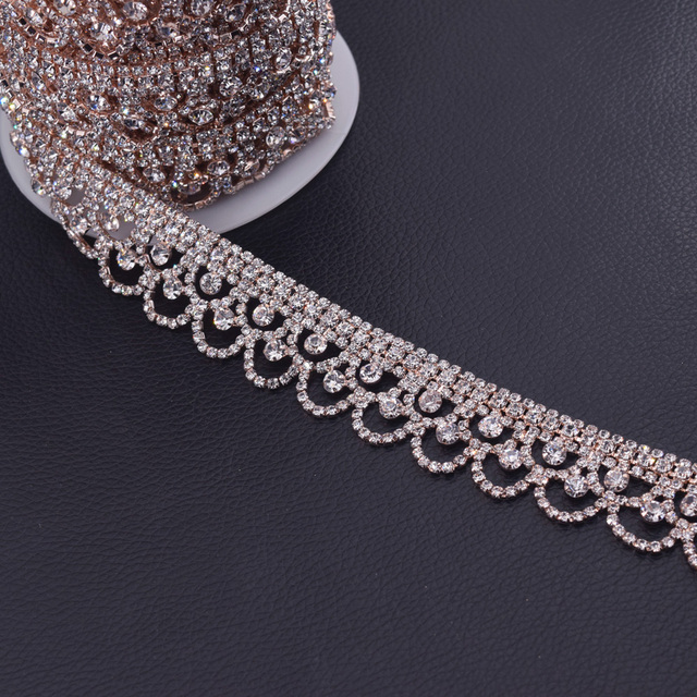 10yards Exquisite crown design Rose gold crystal garment rhinestone trim  applique for wedding dress belt sash decoration HF-3268 645ca7d17a71