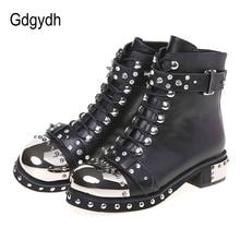 Gdgydh Sexy Klinknagels Womens Enkellaarsjes Echt Leer Chunky Hak Dames Lace Up Goth Punk Platform Schoenen Laarzen Lente Grote size