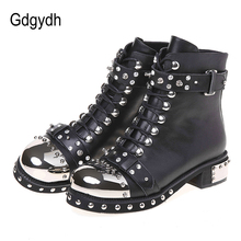 Gdgydh Sexy Rivets Womens Ankle Boots Genuine Leather Chunky Heel Ladies Lace Up Goth Punk Platform Shoes Boots Spring Big Size