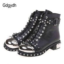 Gdgydh 섹시한 리벳 Womens Ankle Boots 정품 가죽 Chunky Heel Ladies 레이스 업 Goth Punk 플랫폼 신발 부츠 봄 빅 사이즈