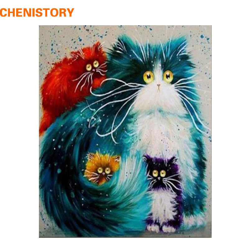 CHENISTORY Frame Animals Cat DIY Painting By Numbers Wall Art Picture Hand Painted Oil Painting For Home Decor Artwork 40x50cm