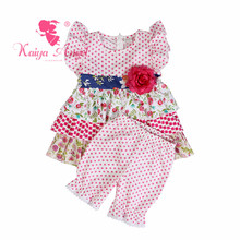 Kaiya Angel Newborn Wholesale Infant Toddler Baby Girl Summer Morning Glory Rose Red Dot Flower Sets Outfits Suit Kids Clothes