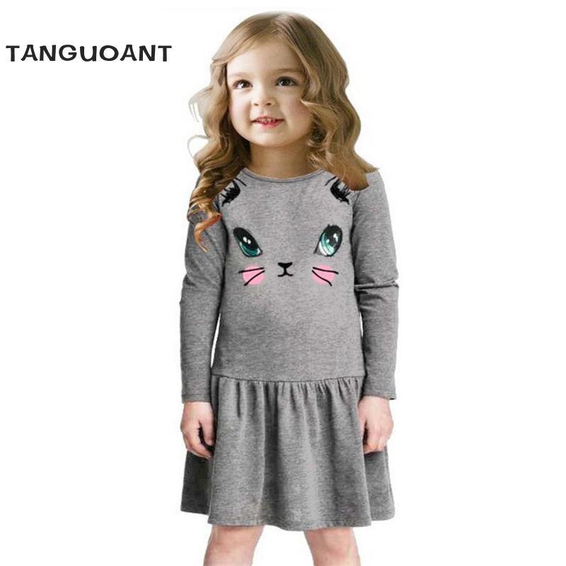 Princess Girls Dress 2017 New Fashion summer Cat Print Children Long Sleeve Cartoon baby girl Cotton Party Dresses for kids