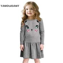 Princess Girls Dress 2017 New Fashion summer Cat Print Children Long Sleeve Cartoon baby girl Cotton Party Dresses for kids(China)