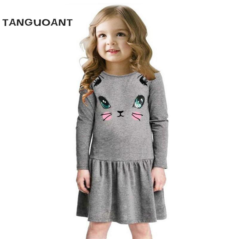 Princess Girls Dress 2018 New Fashion summer Cat Print Children Long Sleeve Cartoon baby girl Cotton Party Dresses for kids monsoon girls dresses summer baby girls clothes kids dresses lemon print princess dress girl party cotton children dress 26