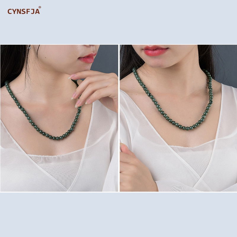 CYNSFJA Real Certified Natural Grade A Burmese Jadeite Amulets Bead Jade Necklace Green High Quality Fine Jewelry Best Gifts in Necklaces from Jewelry Accessories