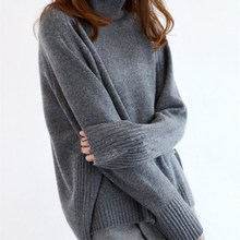 2017 Hot Thick Sweater female big yards high collar lazy loose loose Cashmere Sweater head knitted blouse