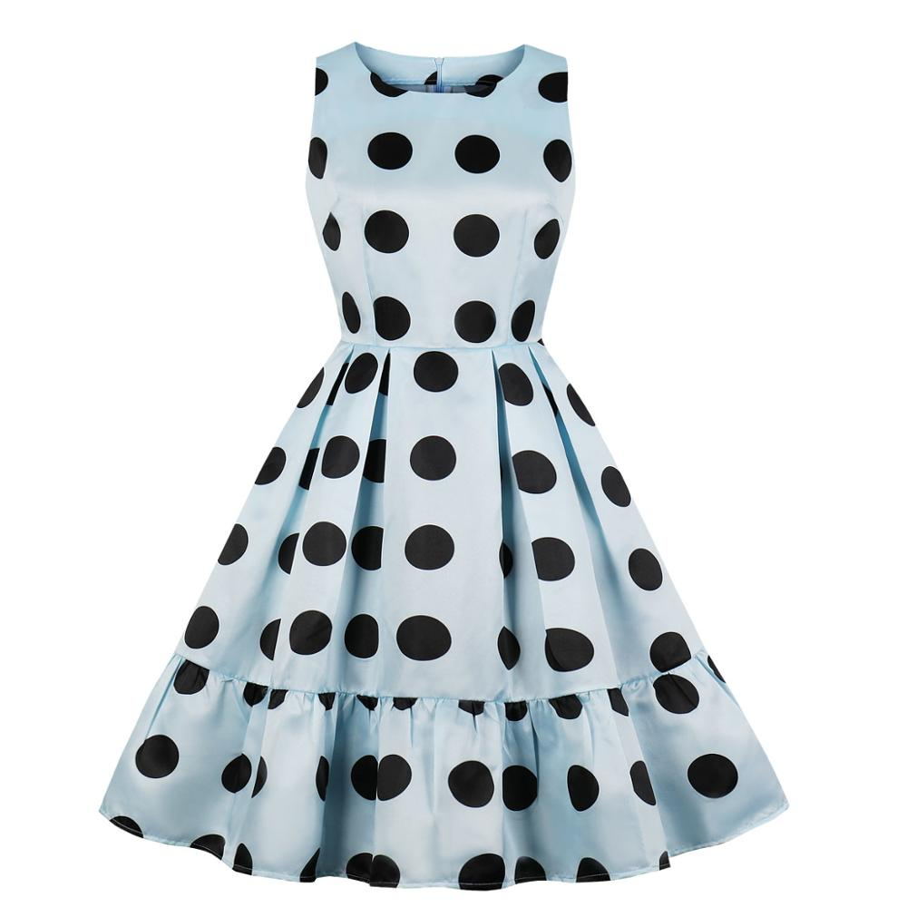 Women Big Polka Dots in Blue Ruffle Dress Woman Pleated 1950s Retro Swing Vintage Dress Satin 50s Flare Skater Party Dresses